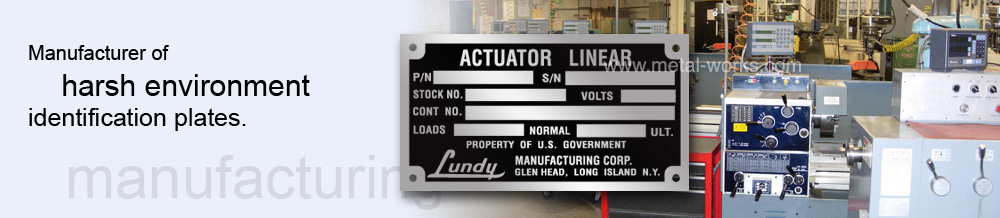 Metalphoto nameplates on industrial machinery - manufacturing