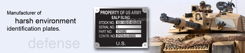 MIL-STD-130N and MIL-STD-130M nameplates with US Army Tank